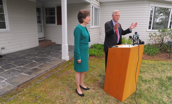 Sen. Angus King speaks at a Friday press conference at the Margaret Chase Smith Library in Skowhegan. He is endorsing Sen. Susan Collins' bid for re-election.