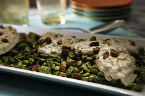 When fresh, fava beans make a nice salad with mint, burrata and pistachios.