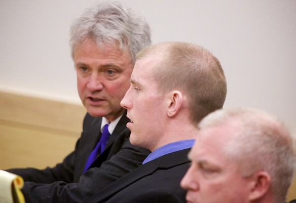 Nicholas Sexton, 33, of Warwick, Rhode Island, is seated in a courtroom at the Penobscot Judicial Center in Bangor on Thursday.