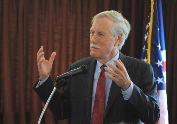 Sen. Angus King speaks during a Town Hall meeting on Friday at the Margaret Chase Smith Library in Skowhegan. After, during a press conference, King endorsed Sen. Susan Collins' bid for re-election.