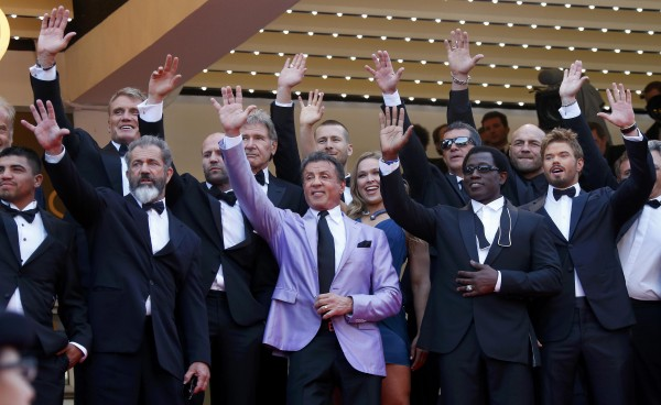 Actor Sylvester Stallone (center) and cast members of the film &quotThe Expendables 3&quot pose on the red carpet during the 67th Cannes Film Festival in Cannes, May 18, 2014.