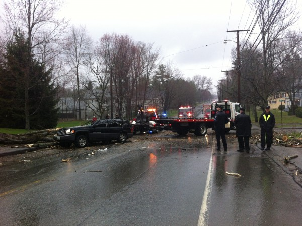 A tree fell on an SUV on Main Street in Orono Sunday afternoon, trapping a woman and her two-year-old child inside.