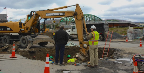 Workers with Soderberg Construction continue preparing Fort Kent's Main Street for the start of construction of a ramp leading to the new international bridge.