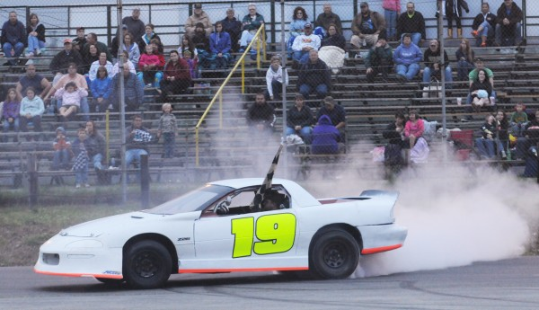 Zach Audet of Skowhegan spins out after winning the Keystone Automotive Street 25-lap race at Speedway 95 in Hermon June 29, 2013.