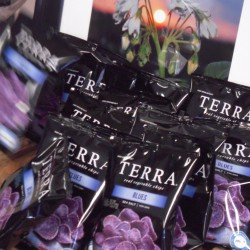 Packages of chips called Terra Blues produced from blue potatoes grown at LaJoie Growers LLC in Van Buren.