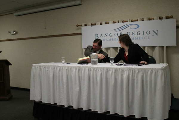 Sens. Troy Jackson and Emily Cain participated in a debate at Jeff's Catering on Thursday morning. The candidates laughed and exchanged a handshake at the end of the debate.