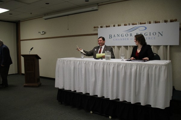 Sens. Troy Jackson and Emily Cain participated in a debate at Jeff's Catering on Thursday morning.