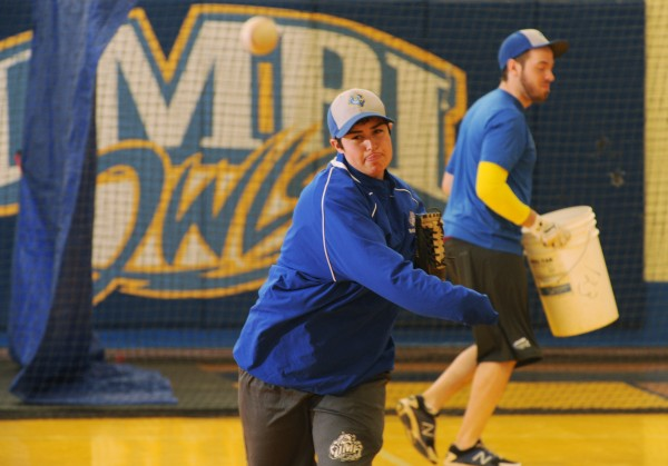 Ghazaleh Sailors throws during practice with the University of Maine-Presque Isle baseball team recently.