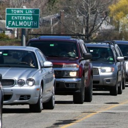 Nearly a dozen road construction projects are planned for Falmouth this summer and will inevitably affect traffic flow, as shown here at the Martin's Point Bridge project. Nonetheless, planners are optimistic that the simultaneous projects won't affect one another.