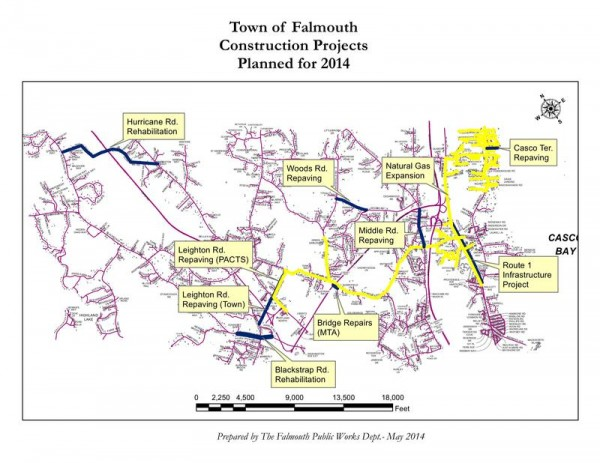 The ongoing or planned road construction projects in Falmouth this year.