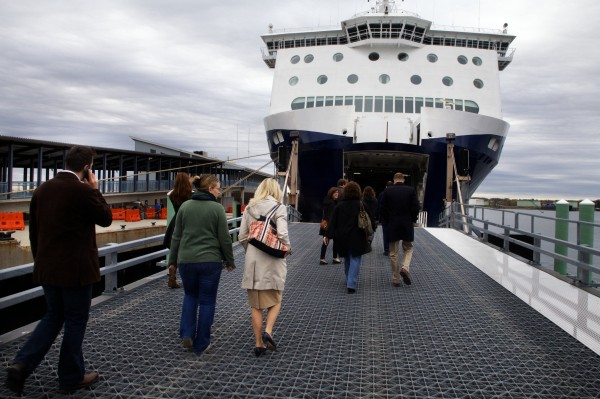 Staffers from U.S. Rep. Chellie Pingree's office get a sneak-peek tour of the Nova Star cruise ship in Portland on Friday. The ship will begin its daily runs to Nova Scotia next week.