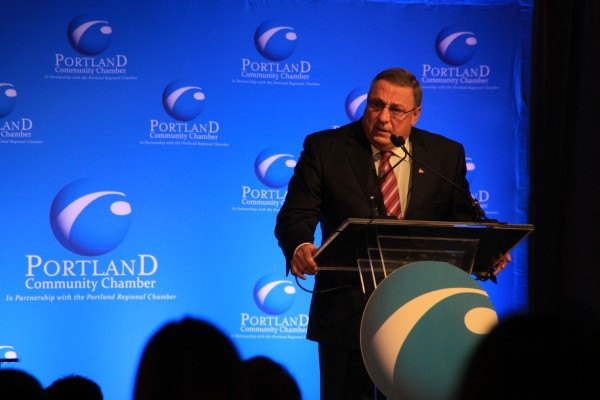 Republican Gov. Paul LePage addresses hundreds at a Portland Community Chamber event Thursday morning.