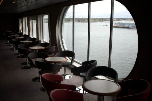 A lounge aboard the Nova Star cruise ship features large window and generous views. The ship will begin sailing to Nova Scotia on a daily basis next week.