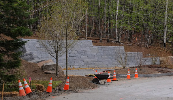 The new retaining wall is among the improvements at the Echo Lake bus stop and turning area in Acadia National Park.