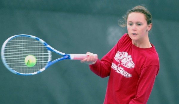 Bangor High School's Emily Brookings hits a forehand during the 2014 MPA Tennis Singles Championship at Colby College in Waterville on Saturday.