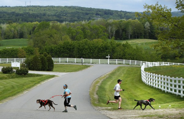 Racers travel in opposite directions where two trails run side-by-side at pastoral Pineland Farms in New Gloucester.