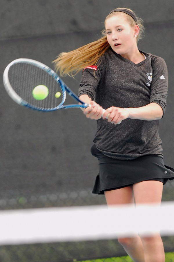 St. Dominic's No. 3 seed Bethany Hammond prepares to hit a shot during the 2014 MPA Tennis Singles Championship at Colby College in Waterville on Saturday.