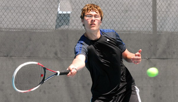 MDI's Luke Horton prepares to hit a forehand during the 2014 MPA Tennis Singles Championship at Colby College in Waterville on Saturday.