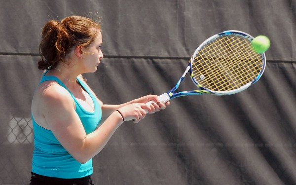 Camden Hills Abby Blakeley prepares to hit a backhand during the 2014 MPA Tennis Singles Championship at Colby College in Waterville on Saturday.