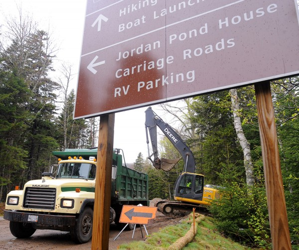 The rebuilding of the parking lot at the Jordan Pond boat launch is among the ongoing construction projects in Acadia National Park.