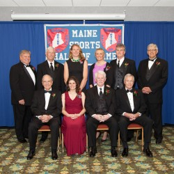 The Maine Sports Hall of Fame inducted nine new members during a ceremony Sunday at the Augusta Civic Center. A President's Award was also given to William Haggett. The inductees are (front row, from left): former U.S. Senator George Mitchell, Abigail Spector, Bill Green, and President's Award winner Haggett; and back row: Steve Pound, Ed Flaherty, Eleanor Logan, Julia Clukey, Jack Cosgrove and Joe Ferris.