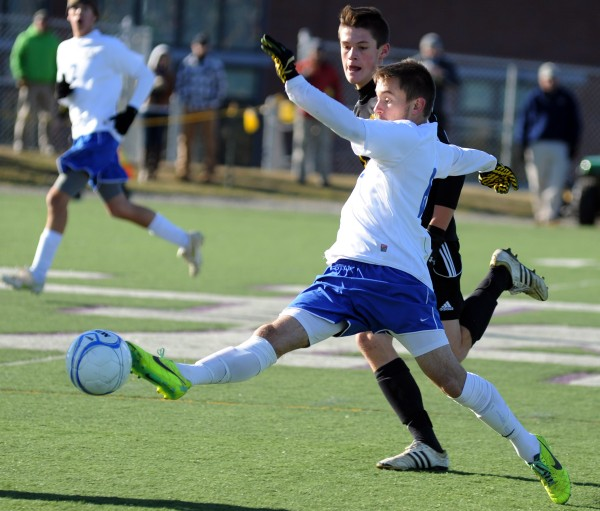 Madawaska's Ian Lee in first half action of the Class C boys state championship game at Hampden in November 2013.