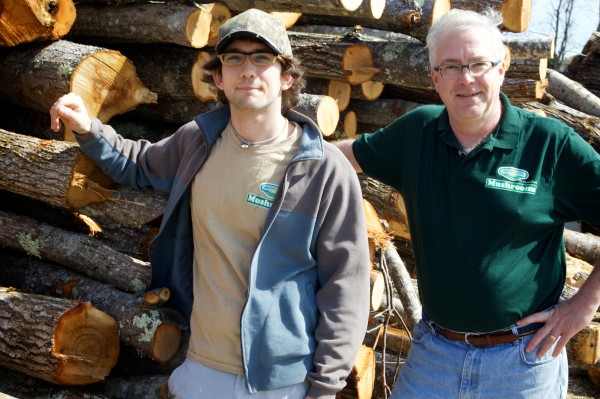 The father-and-son team of Robert (left) and John Sharood owns and operates the Mousam Valley organic mushroom-growing facility in Springvale.