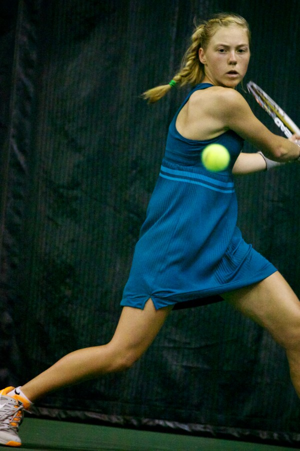 In this May 2013 file photo, Olivia Leavitt of Falmouth High School returns a volley in the finals match at the Maine Principals' Association Singles Tennis Championship at the Racket and Fitness Center in Portland.