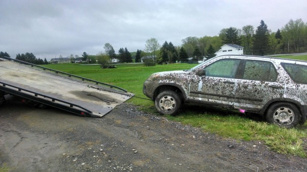 Caribou police recovered the Honda CRV stolen from a Presque Isle residence sometime early Memorial Day morning. The vehicle was damaged, muddy and owner Alexis Belle's prom dress was missing from inside of it.