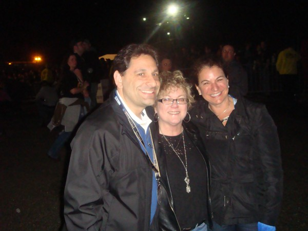 Sherri Kaufman (center) won the poker table at the Rise Above Fest, which was raffled off as a benefit for Suicide Prevention Voices of Awareness. She is pictured here at the Bangor concert on May 10, with SAVE's Dan Reidelberg (left) and Linda Mars.