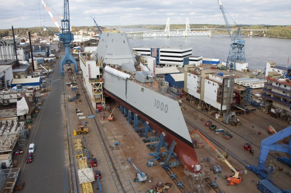 The USS Zumwalt is shown during final preparations at Bath Iron Works last year.