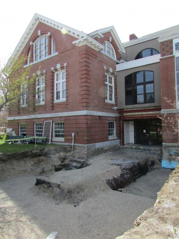 Merrill Memorial Library, 215 Main St., in Yarmouth, will have a new covered entranceway and vestibule when it reopens this fall.