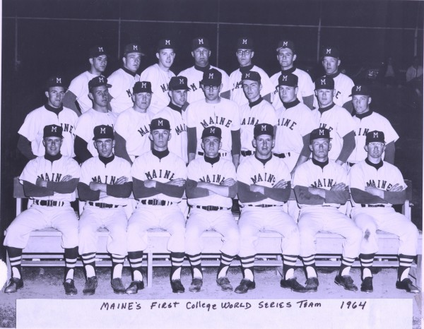 The 1964 University of Maine baseball team was among the most successful in program history. Coach Jack Butterfield's Black Bears posted a 21-8 record and finished third at the College World Series in Omaha, Nebraska. Front row (from left): Tom Murphy, Vic Nelson, Dick Dollof, Dave Thompson, Larry Coughlin, Dick DeVarney and Charlie Newell. Second row: Bruce Cary, Steve Sones, Dick Flaherty, Doug Swain, Joe Ferris, John Gillette, Roger Richards, Dick Kelliher and Ron Lanza. Third row: Mike DeSisto, Carl Merrill, Ray Bisbee, John Hutchins, Art Heathcote, Dick Perkins and Brent Keene.