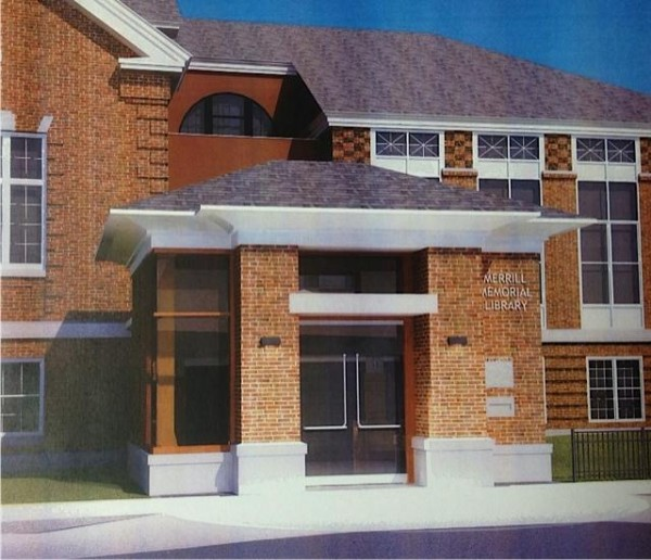 A rendering of the covered entranceway designed for Merrill Memorial Library in Yarmouth.
