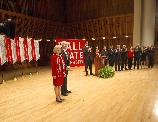 University of Maine President Paul Ferguson, with his wife Grace, is introduced as the new president of Ball State University during a ceremony Thursday.