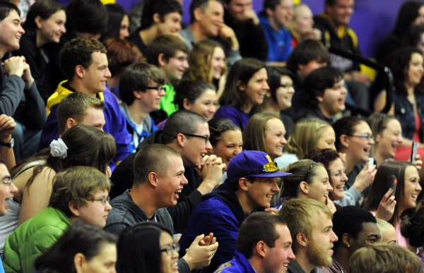 Bucksport High School students gather in the gymnasium to watch comedian Bruce Johnson kick off a surprise field day on Friday.  The day of events was put together by school staff and parents as a way to bring students together for some fun and laughter after a difficult year.