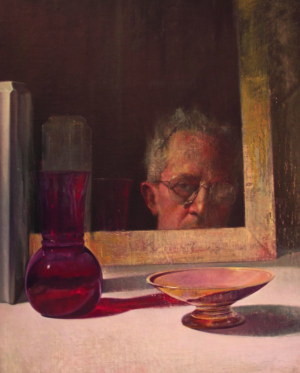 Self portrait with Bowl and Vase, oil on linen by Joseph Nicoletti is part of the SELF/Selfie show at Engine in Biddeford.