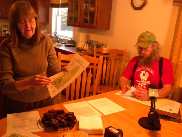 Former Clifton Planning Board member Paula Kelso (left) points to a map of the proposed Pisgah Mountain LLC wind farm at press conference at her house with local farmer Peter Beckford in this December 2013 file photo.