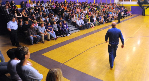 Charlotte Bobcats head coach and Maine native Steve Clifford takes the court Thursday to address students at Bucksport High School.