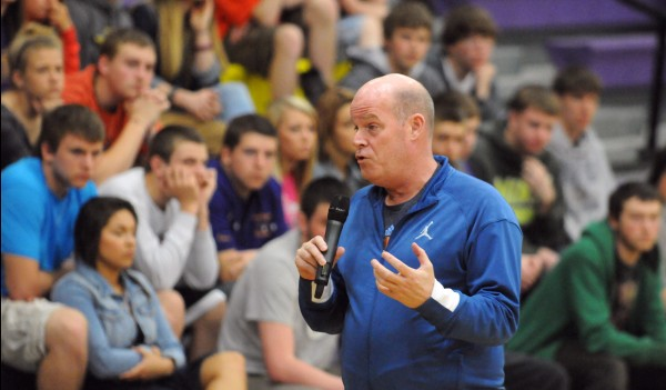 Maine native and Charlotte Bobcats head coach Steve Clifford addresses the student body Thursday at Bucksport High School.