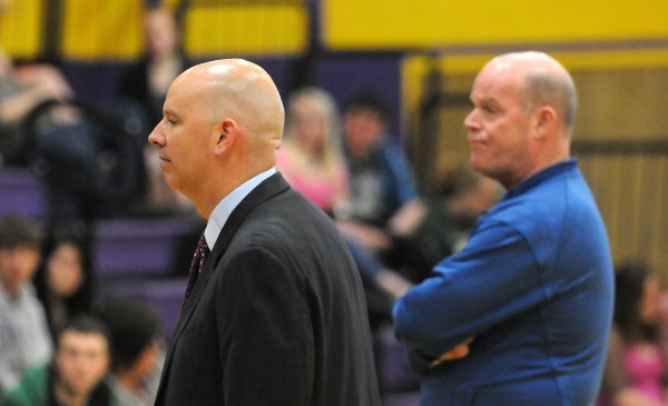 Bucksport High School principal Dan Clifford (left) and his brother Steve Clifford, the head coach of the NBA's Charlotte Bobcats, were together Thursday for Steve Clifford's address to students at the high school.
