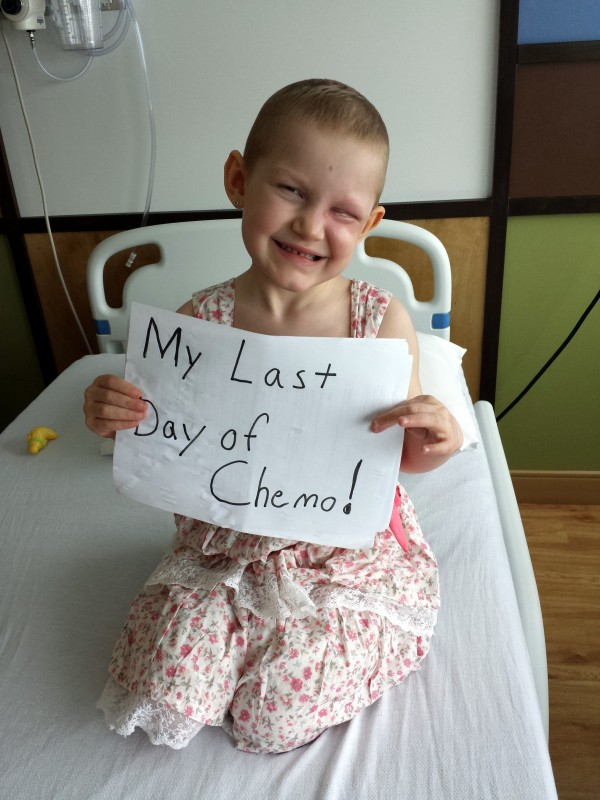 Ellie LaBree is shown on her last day of chemotherapy in April.