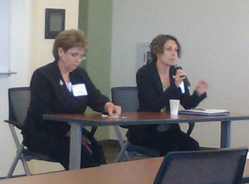 Terry Moore (left), a women veterans advocate who is also a trustee for Maine Veterans' Homes, and Debbie Kelly, Maine director for the U.S. Department of Labor's Veterans' Employment and Training Service, speak during a forum called &quotAfter the Uniform: Responding to America's Women Warriors,&quot on Tuesday in Augusta.