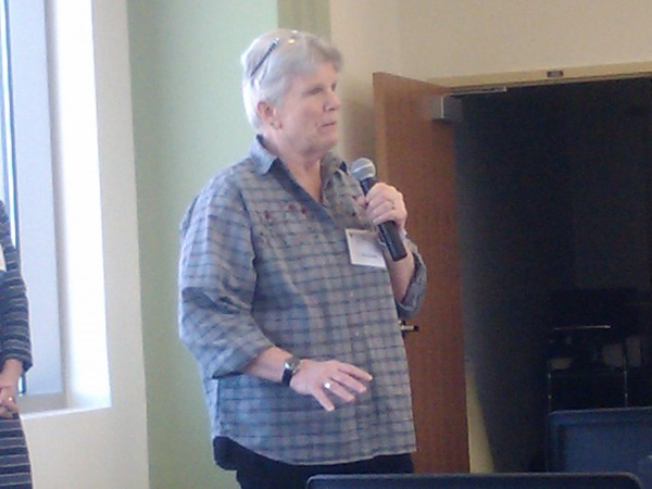 Lu MacDonald of Durham, a veteran of the Navy and National Guard, discusses strategies to bring more women veterans the services they are entitled to during a forum called &quotAfter the Uniform: Responding to America's Women Warriors,&quot on Tuesday in Augusta.