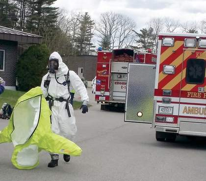 Emergency crews went to the scene of a chemical spill and small explosion at the Kennebunk Sewer Department on Water Street on Monday.