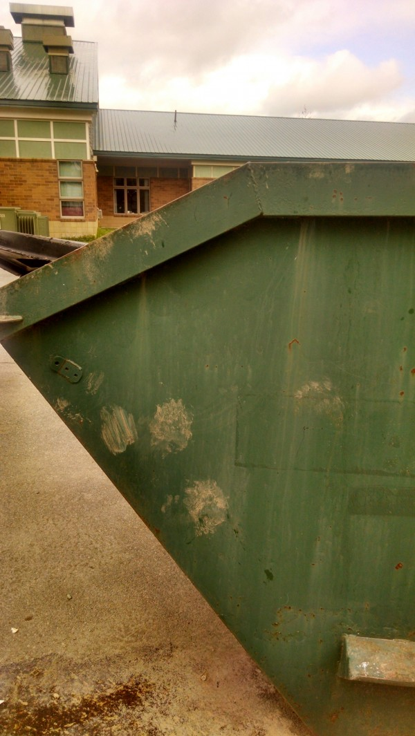 A bear's paw prints can be seen on this trash bin behind the Princeton Elementary School on Wednesday.