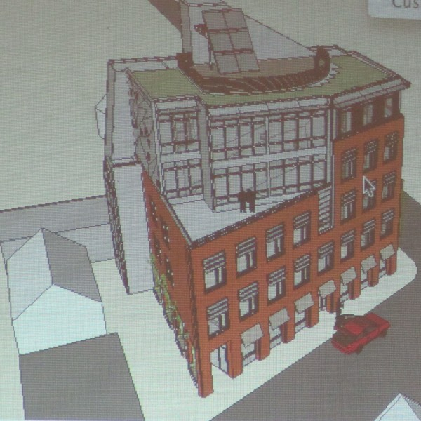 This is an aerial view of the proposed five-story hotel for Main and Pleasant streets in Rockland.
