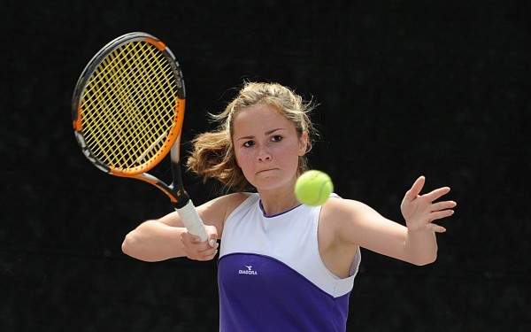 Ashley Woodside of Hampden Academy will compete in the 2014 state singles tournament, which continues Friday at Colby College in Waterville.
