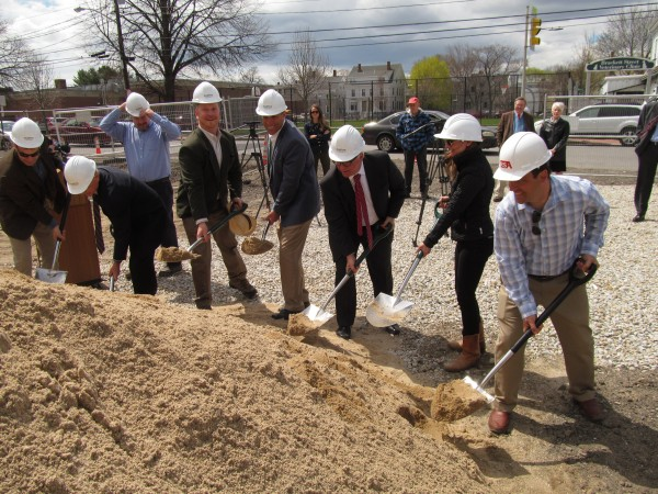 On Tuesday, project stakeholders and city officials, including City Councilor David Marshall and developer Paul Peck, take part in the ceremonial groundbreaking for West End Place in Portland.