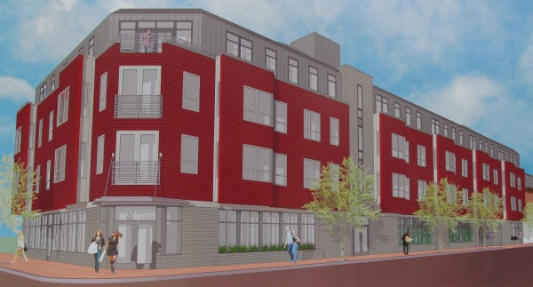 This architect's rendering shows what the 39-unit West End Place apartment building in Portland will look like when complete.